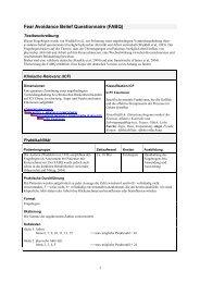 Fear Avoidance Belief Questionnaire (FABQ) - FOMT