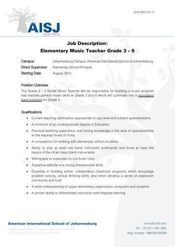 Job Description Elementary Class Teacher Grade 3 5 American