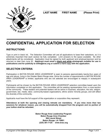 confidential application for selection - Baton Rouge Area Chamber