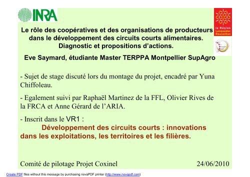 Rôle des coopératives et organisations de ... - INRA Montpellier