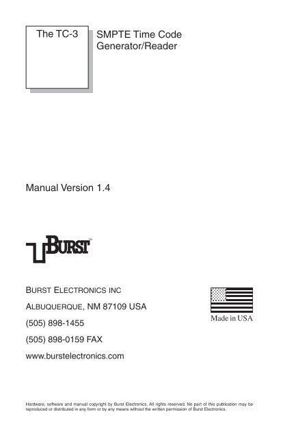 SMPTE Time Code Generator/Reader Manual     - Burst Electronics