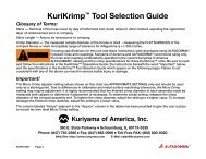 KuriKrimp™ Tool Selection Guide - Kuriyama of America