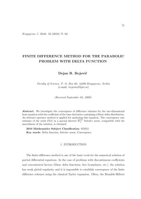 Finite difference method for the parabolic problem with delta function