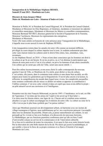 Discours du Sénateur-maire, Jean-Jacques Filleul - Montlouis-sur ...