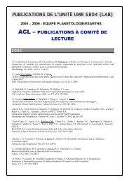 acl – publications à comité de lecture - Laboratoire d'Astrophysique ...