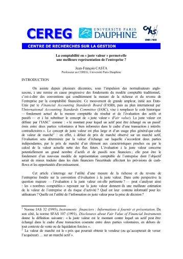 La comptabilité en « juste valeur - CEREG - Université Paris-Dauphine