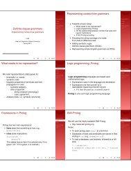 Definite clause grammars Representing context ... - Indiana University