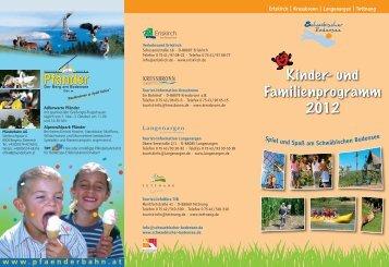Kinder- und Familienprogramm 2012 - Schwäbischer Bodensee