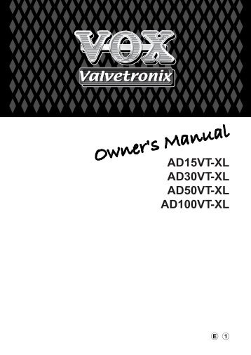 AD15VT-XL/AD30VT-XL/AD50VT-XL/AD100VT-XL Owner's ... - Vox