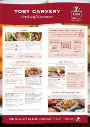 Carvery menu - Toby Carvery