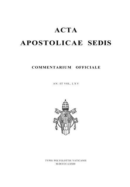 Acta Apostolicae Sedis Libr Rsi