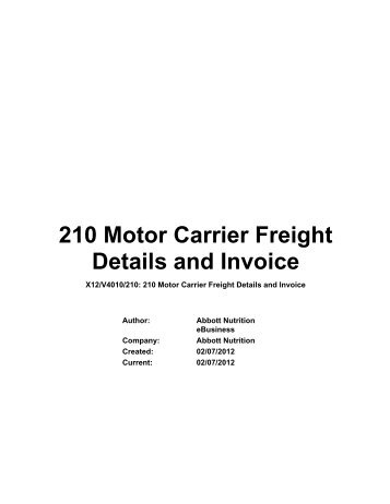 210 motor carrier freight details and invoice jcpenney for Motor carrier service inc