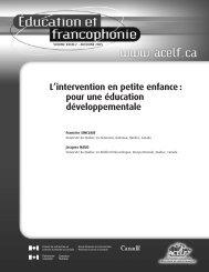 L'intervention en petite enfance : pour une éducation ... - acelf