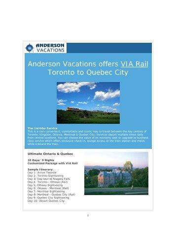 VIA Rail Toronto to Quebec City - Anderson Vacations