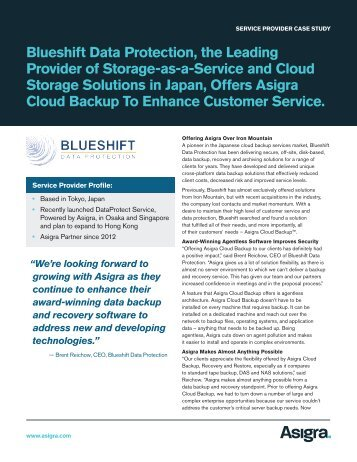 Blueshift Data Protection, the Leading Provider of Storage ... - Asigra