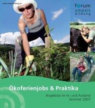 Ökoferienjobs & Praktika - Forum Umweltbildung