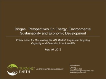 Biogas: Perspectives On Energy, Environmental Sustainability and ...