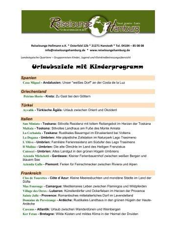 Übersicht Reiseziele PDF Formular - Reiselounge Hellmann