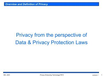 Privacy from the perspective of Data & Privacy Protection Laws