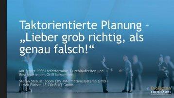 Taktorientierte Planung - eEvolution® Konferenz