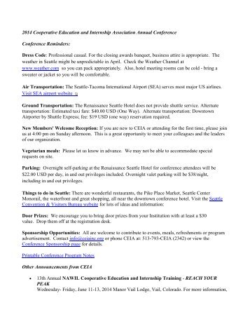Printable Conference Program Notes - Cooperative Education and ...