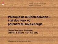 2. Utilisation du bois-énergie Suisse