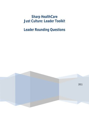 Sharp HealthCare Just Culture: Leader Toolkit - WHA Quality Center