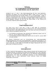Satzung zur vorgezogenen Dichtheitsprüfung der Stadt Brakel Bereich