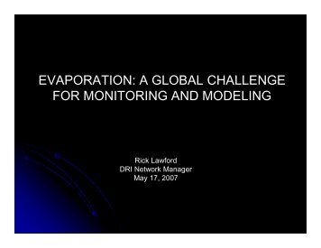 evaporation - Drought Research Initiative