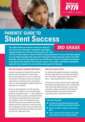 parEnTS' GuIdE To Student Success 3rd GradE - National PTA