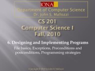 6. Designing and Implementing Programs