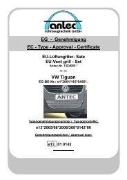 VW Tiguan EG - Genehmigung EC - Type - Approval - Certificate