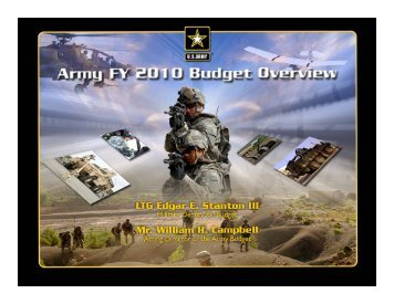 Army FY10 Budget Priorities - United States Department of Defense