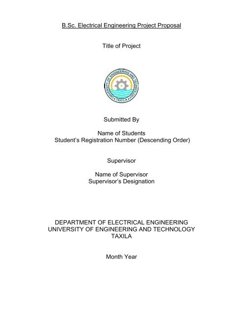 Project Proposal Format | B Sc Final Year Project Proposal Format University Of Engineering