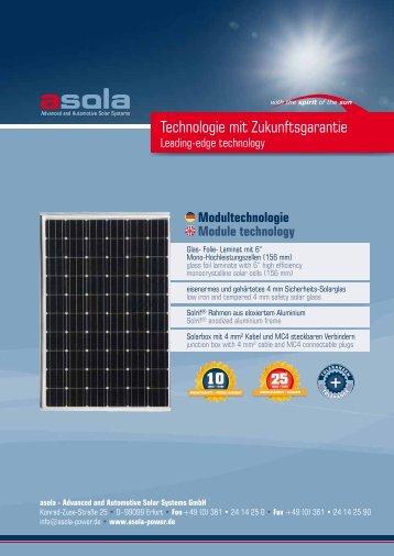Technologie mit Zukunftsgarantie - asola