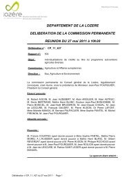 DEPARTEMENT DE LA LOZERE DELIBERATION DE LA ...