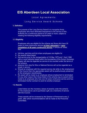 Local Agreements: Long Service Award Scheme