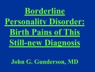 Borderline Personality Disorder: Birth Pains of This Still-new Diagnosis