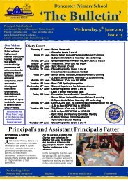 2013 Newsletter 15 - Doncaster Primary School