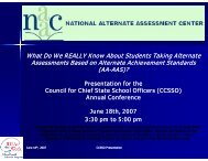 What do we really know about students taking alternate ... - NAAC