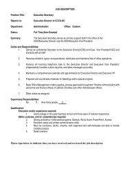 JOB DESCRIPTION Position Title: Executive Secretary Reports to ...