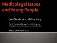 Medicolegal Issues and Young People - Family Planning NSW