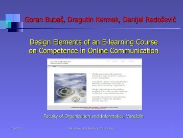 Design Elements of an E-learning Course on Competence ... - CARNet
