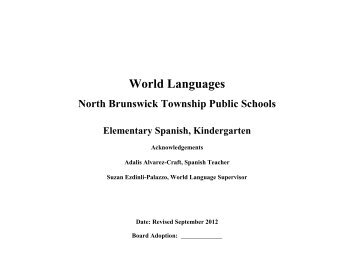 Elementary Kindergarten Spanish Curriculum (pdf) - North ...