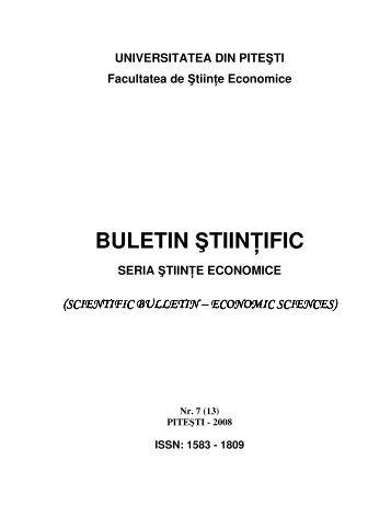 buletin ştiin ific - Facultatea de Stiinte Economice - Universitatea din ...