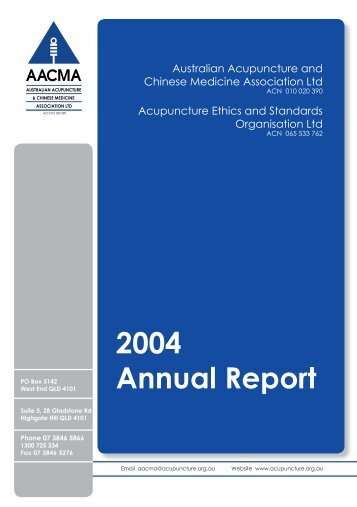 Annual Report 2004 - Australian Acupuncture & Chinese Medicine ...