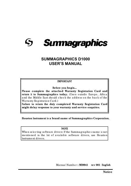 Summagraphics D1000 User's Manual - Summa Online