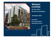 30 June 2011 Full Year Results Presentation - Watpac
