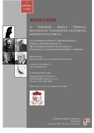 KÖZELÍTÉSEK - Zsigmond Király Főiskola