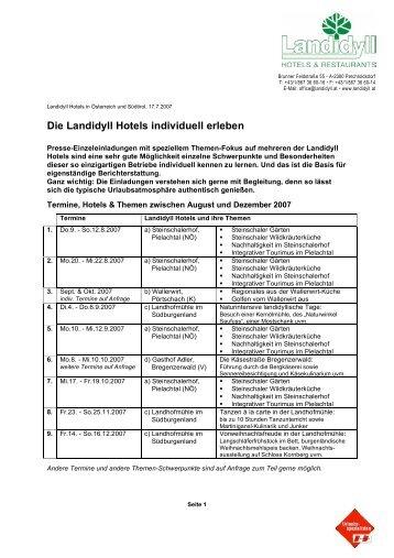 Die Landidyll Hotels individuell erleben - Oliver Pichler & Partner